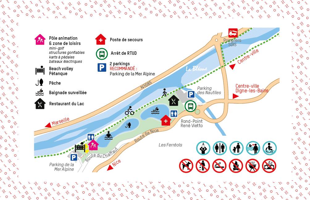 Plan du Plan d'eau des Ferréols
