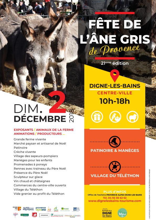 Affiche Fête âne gris de Provence