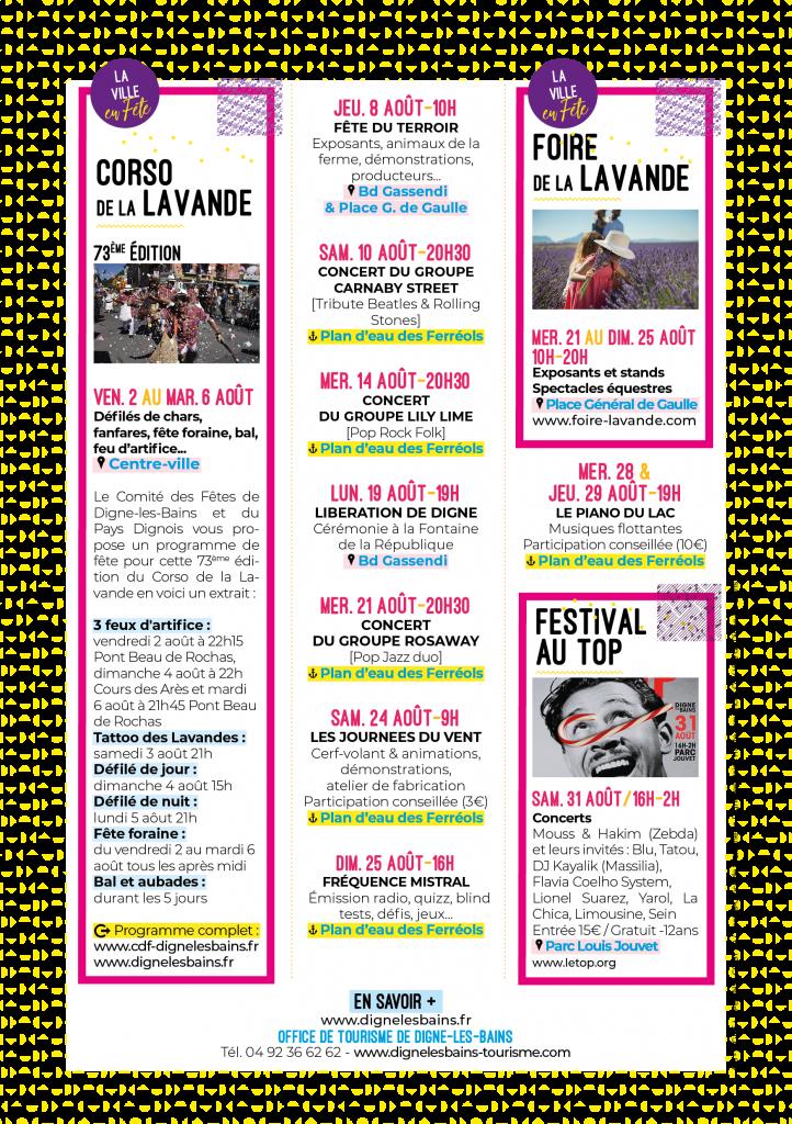 Flyer aout l'été on sort à Digne-les-Bains