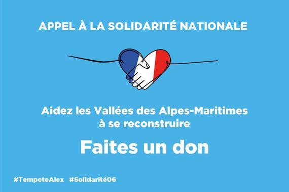 Visuel de la campagne d'appel aux dons pour les sinistrés des Alpes-Maritimes